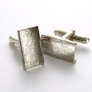 Sterling Silver Contemporary Brushed Cufflinks - men's accessories
