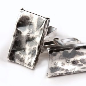 Sterling Silver Contemporary Heavily Textured Cufflinks
