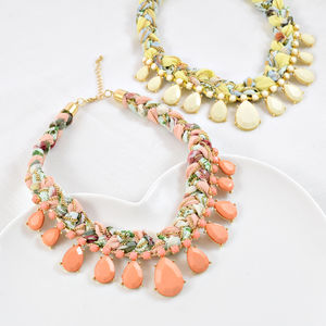 Pastel Tear Drop Bib Necklace - statement necklaces