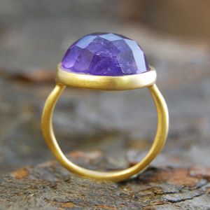 Amethyst Birthstone Dome Gold Ring