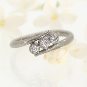 Triple Diamond 18ct White Gold Ring - engagement rings