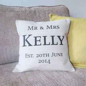 Mr And Mrs Personalised Cushion Cover - cushions
