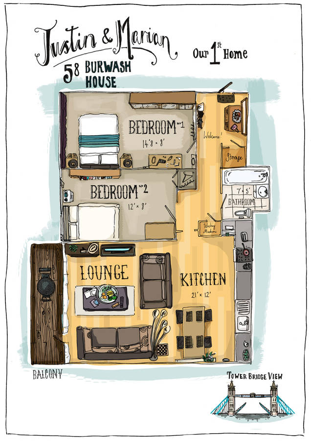Hand drawn personalised house flat floorplan by jo bird for The nanny house layout