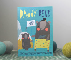 Daddy Bear Fathers Day Card In Blue