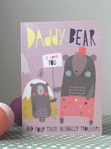 Daddy Bear Fathers Day Card In Pink