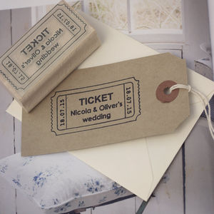 Admit One Ticket Style Personalised Wedding Stamp - ribbon & wrap