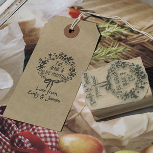 Eat Drink Be Merry Personalised Rubber Stamp