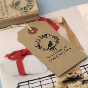 'Merry Christmas' Gift Tag Rubber Stamp - ribbon & wrap