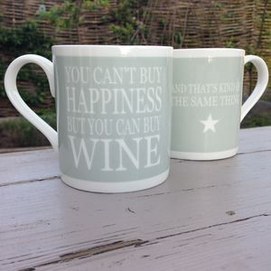 'You Can't Buy Happiness…Wine' Mug - dining room