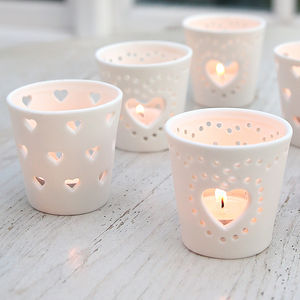 Ceramic Heart Tea Light Holder - candles & home fragrance