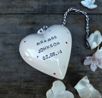 Personalised Ceramic Wedding Heart