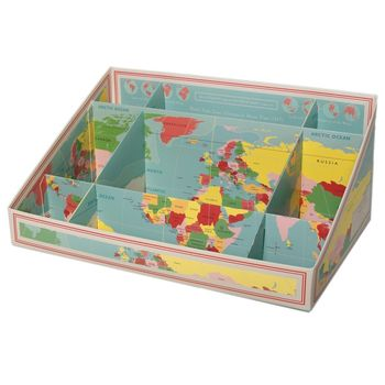 Large World Map Desk Tidy