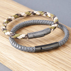 Mens Braided Leather Bracelet - men's jewellery