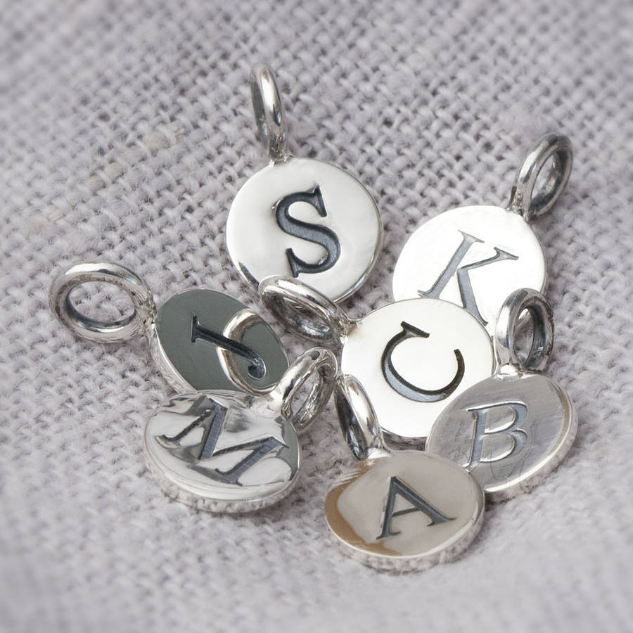 sterling silver embossed letter charms by bloom boutique With letter charm beads