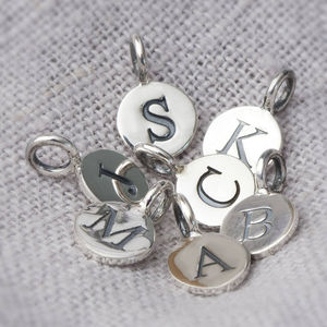 Sterling Silver Embossed Letter Charms - more