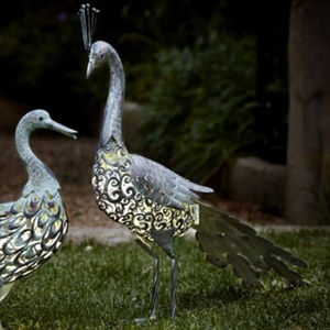Metal Silhouette LED Solar Garden Light / Peacock - art & decorations