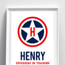 Personalised Superhero Name Poster Or Canvas Print