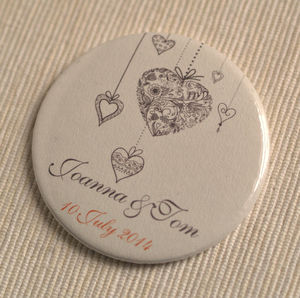 Personalised Hanging Hearts Wedding Favour