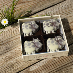 Four Handmade Chocolate Cows - easter treats
