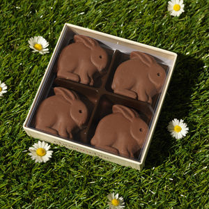 Four Handmade Chocolate Bunnies - food gifts