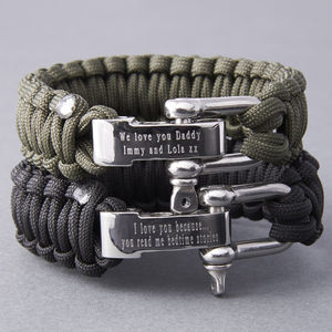 Personalised Paracord Survival Bracelet - gifts for fathers