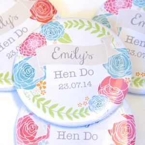 Personalised Floral Hen Party Badge - personalised jewellery