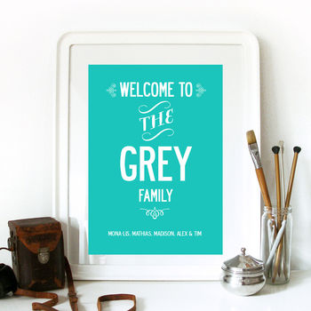Welcome! Personalised Family Name Print