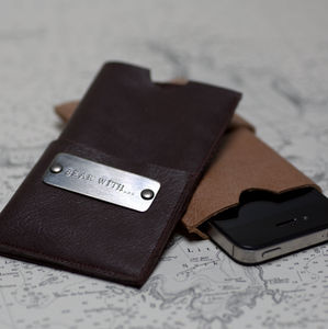 Personalised Leather iPhone Cover