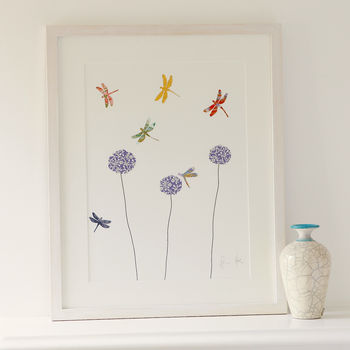 Dragonflies And Aliums Collage