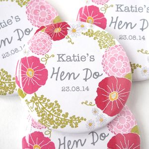 Personalised Flower Hen Party Badge - hen party gifts & styling