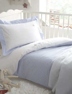 Gingham Embroidered Owl Bedding Blue From