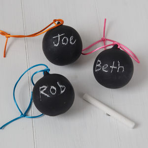 Ceramic Chalkboard Bauble With Neon Ribbon