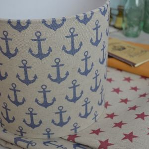 Anchors Linen Drum Lampshade