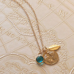Baby Footprints And Birthstone Necklace