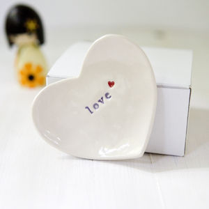 'Love' Ceramic Ring Dish - jewellery storage & trinket boxes
