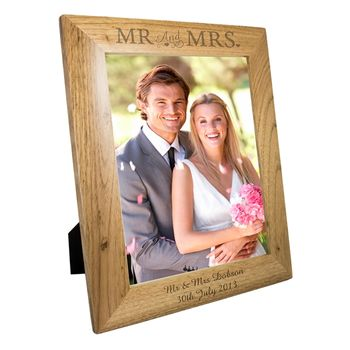 Personalised 'Mr And Mrs Oak' Photo Frame