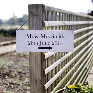 Personalised Wooden Wedding Directional Sign