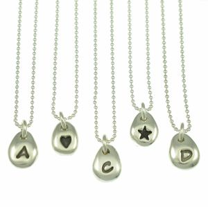 Personalised Silver Initial Beanie Pendant Necklace