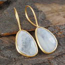 Irregular Semi Precious Moonstone Gemstone Earrings