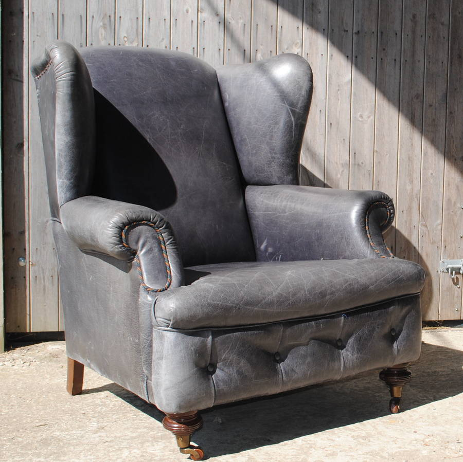 Vintage Grey Leather Armchair By Iamia