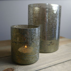 Smokey Grey Metallic Glass Votive - votives & tea light holders
