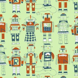 Robot Wallpaper Sample - children's room