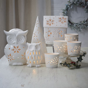 White Christmas Tea Light Holder - lighting