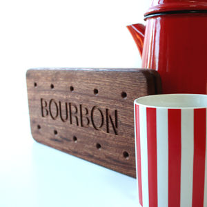 Personalised Giant Bourbon Biscuit Wooden Coaster - serving dishes