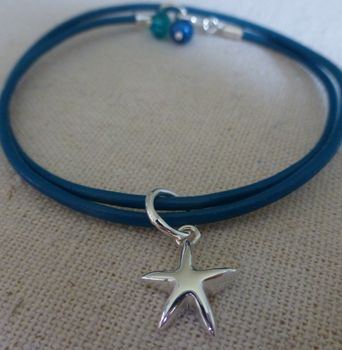 Leather And Silver Star Charm Bracelet