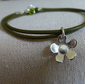 Leather And Silver Flower Charm Bracelet