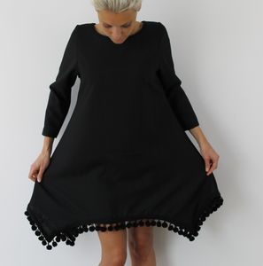 Black Pom Pom Dress - dresses
