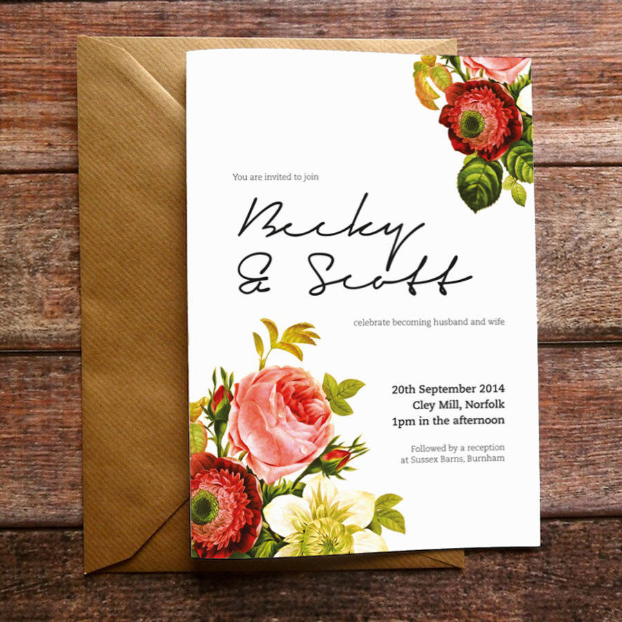 Vintage Floral Wedding Invitation And Stationery By Russet And Gray