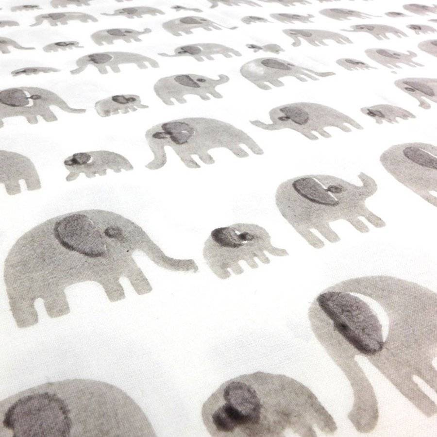Grey Elephant Cot Bed Fitted Sheet