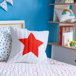Blue And Red Star Printed Cushion